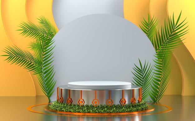 Esposizione del podio dall'aspetto metallico arancione con sfondo della fase del prodotto di rendering 3d a foglia verde