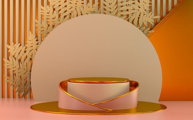 Espositore da podio metallico arancione per lo sfondo della fase di rendering 3d di presentazione del prodotto