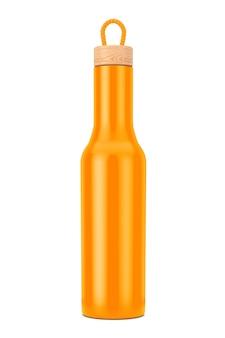 Mockup di bottiglia moderna arancione con tappo in legno su sfondo bianco. rendering 3d