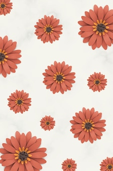 Modello di margherita artigianale di carta arancione su sfondo beige