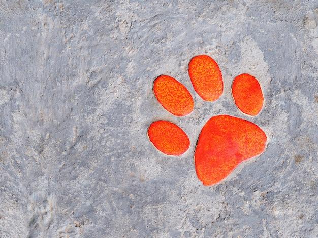 Decorazione in ceramica zampa arancione sul sentiero