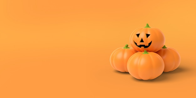 Zucca arancio su un'arancia, rappresentazione 3d