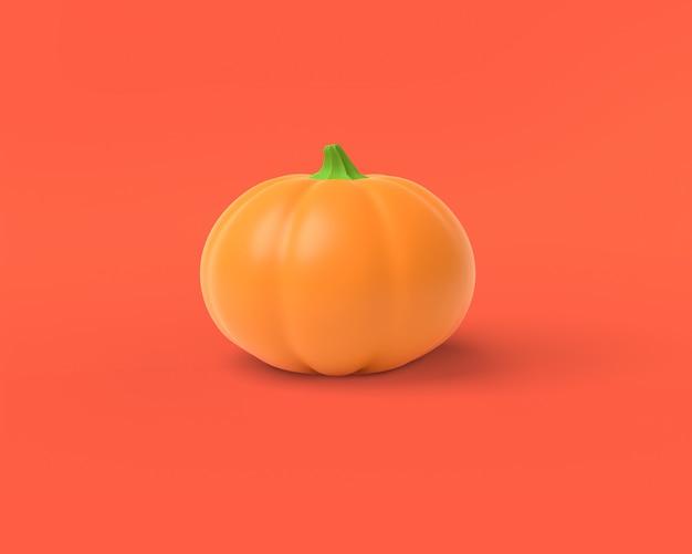 Zucca arancio su un rosso, rappresentazione 3d