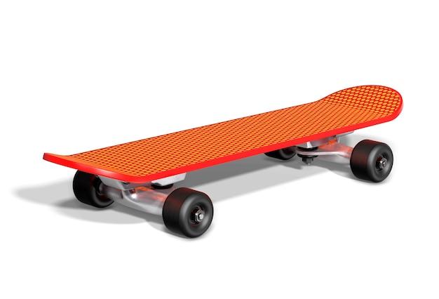 Skateboard arancione su sfondo bianco