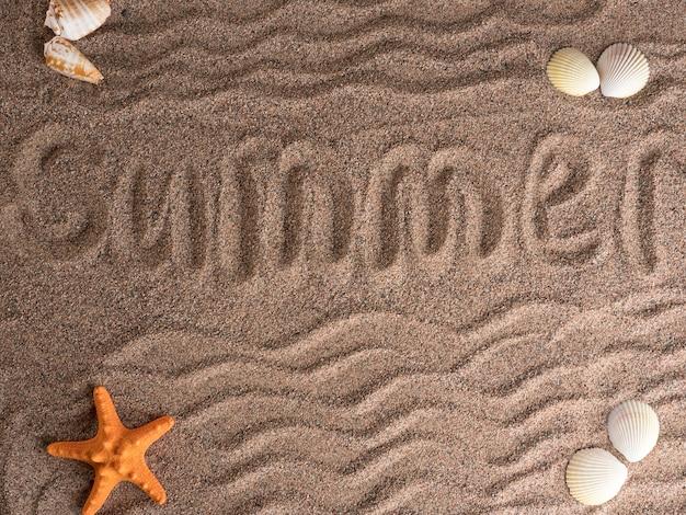 Stelle marine e conchiglie arancioni giacciono sulla sabbia grossolana, vista dall'alto. copia spazio.