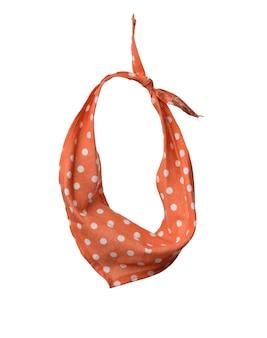 Sciarpa collo tessile arancione isolato su sfondo bianco, vicino