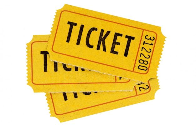 Biglietti arancioni isolati bianco