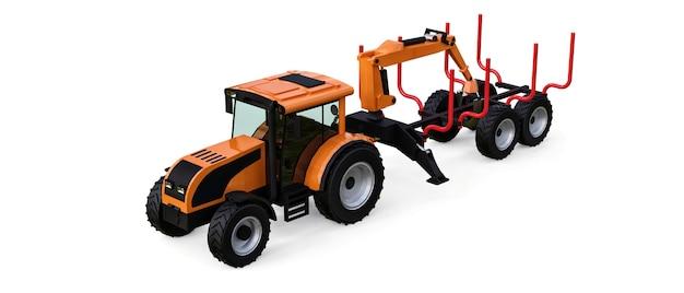 Trattore arancione con rimorchio per l'accesso su sfondo bianco. rendering 3d.