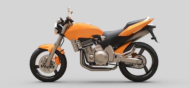 Motocicletta a due posti sportiva urbana arancione su una superficie grigia