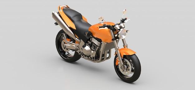 Motocicletta a due posti di sport urbano arancione su una superficie grigia