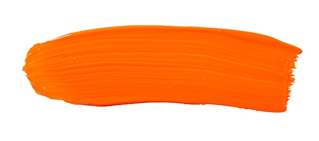 Tratto di pennello giallo arancio isolato su priorità bassa bianca. tratto astratto arancione. tratto di pennello acquerello colorato.