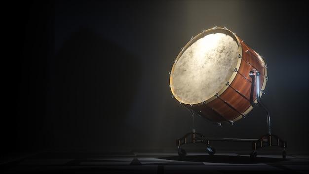 Grande tamburo dell'orchestra su sfondo scuro myst. illustrazione 3d