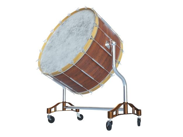 Grande tamburo dell'orchestra su bianco