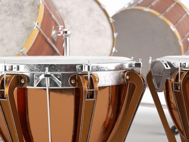 Tamburi dell'orchestra su bianco