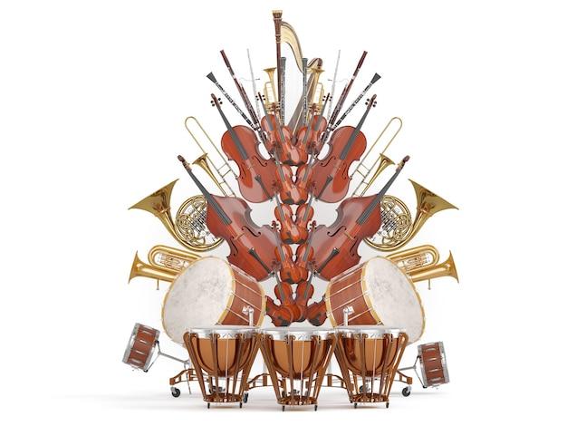 Strumenti musicali dell'orchestra isolati su bianco