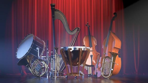 Strumenti musicali orchestra bianchi. rendering 3d di alta qualità