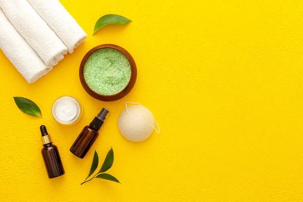 Set cosmetico biologico con foglie di olivo di tè e sale marino