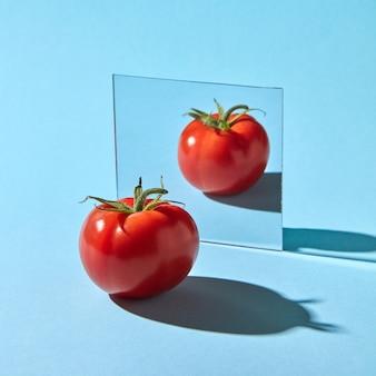 Pomodoro succoso biologico con riflesso nello specchio presentato su una parete blu con spazio per il testo. verdura sana