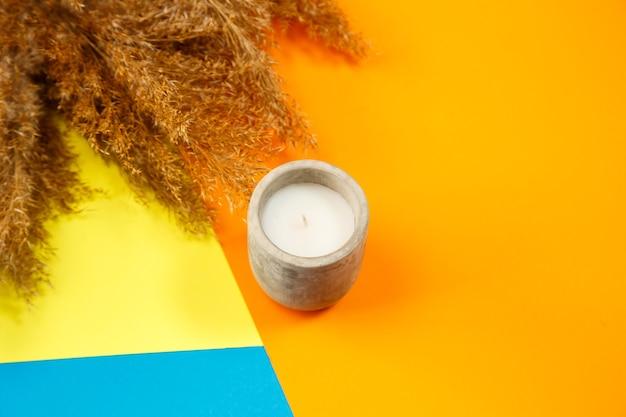 Candela profumata organica in un bicchiere con cemento grigio cemento. interni a soppalco, concetto di minimalismo. primo piano, copia spazio per il testo. intorno a ciuffi di rami secchi