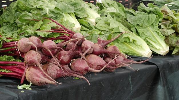 Verdure biologiche sul bancone di prodotti locali freschi coltivati in casa sul mercato alimentare degli agricoltori di stallo negli stati uniti