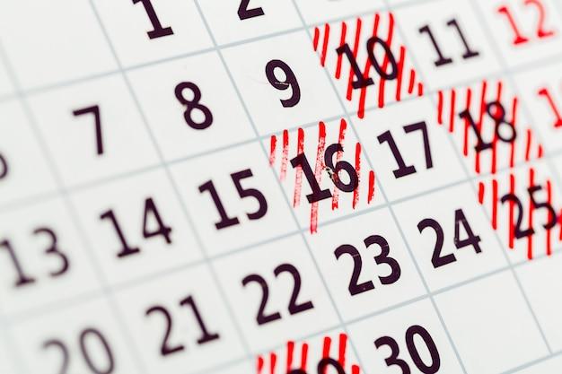 Modello di calendario dell'organizzatore, sfondo con date evidenziate