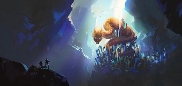 Drago orientale seduto sulla cima di una pietra preziosa, illustrazione di fantasia.