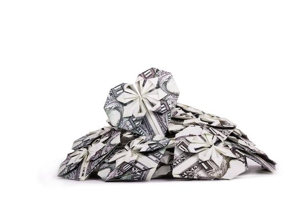 Cuore origami da una fattura