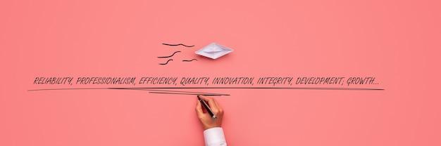 Barca di carta origami su sfondo rosa con mano maschile che scrive parole di successo aziendale sotto di essa - affidabilità, professionalità, efficienza, qualità, integrità, sviluppo e crescita