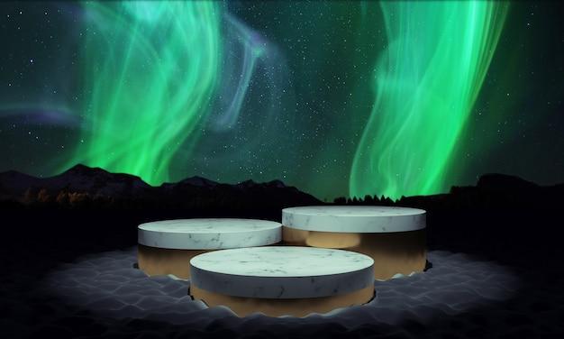 Supporto da podio del prodotto originale illuminato dall'alto sullo sfondo dell'aurora boreale dell'aurora boreale