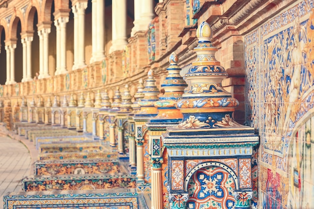 Piastrelle ornamento a plaza de ornament piastrelle a plaza de españa a siviglia, spagna