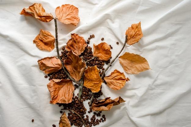 Ornamenti di chicchi di caffè, foglie secche e ramoscelli secchi sono fotografati su un panno bianco.