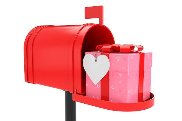 Ornato con cuori confezione regalo di carta con nastro rosso nella cassetta postale rossa su sfondo bianco. rendering 3d