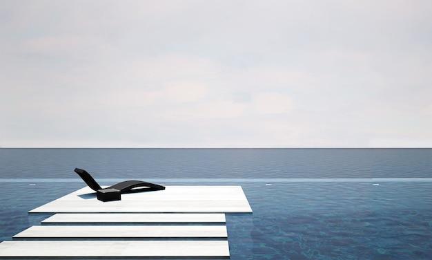 Il soggiorno all'aperto e la decorazione dei mobili del divano letto e lo sfondo della vista sul mare mock