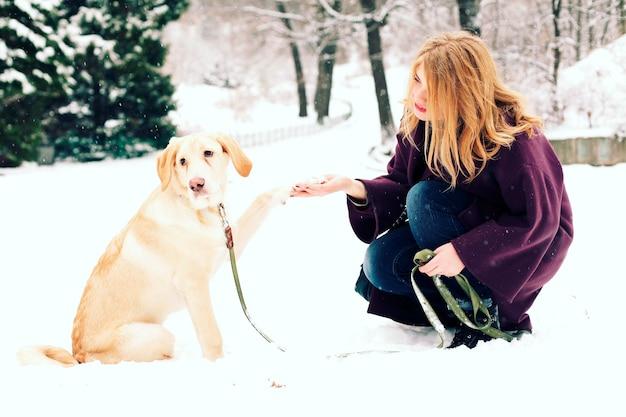 Ritratto all'aperto di bella donna che gioca con il cane al parco innevato