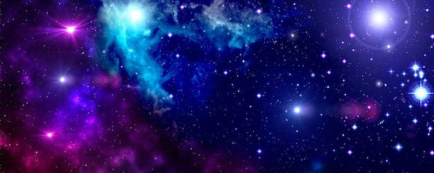 Spazio esterno, universo, nebulosa, stelle, ammasso stellare, blu, viola