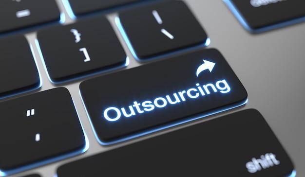 Testo di outsourcing sul pulsante della tastiera