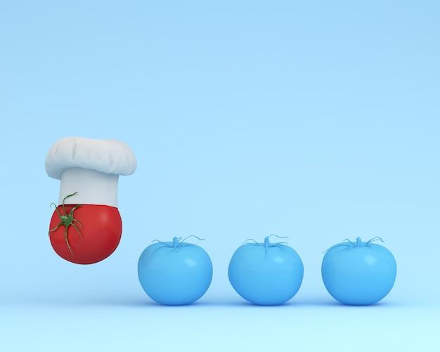 Cappello da chef eccezionale con pomodoro galleggiante
