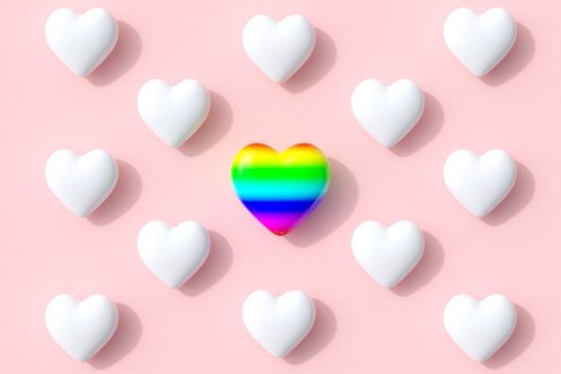 Eccezionali forme di cuore colorato di colore di caramelle lecca-lecca su sfondo rosa. rendering 3d. idea minima del concetto di san valentino.