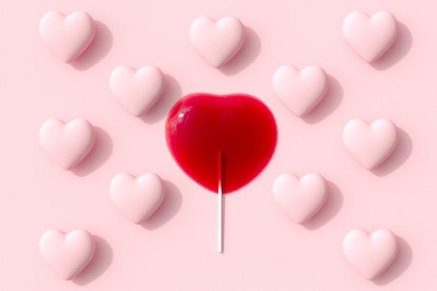 Eccezionale melt red heart shape di candy lecca-lecca con cuore rosa spapes su sfondo rosa. rendering 3d. idea minima del concetto di san valentino.