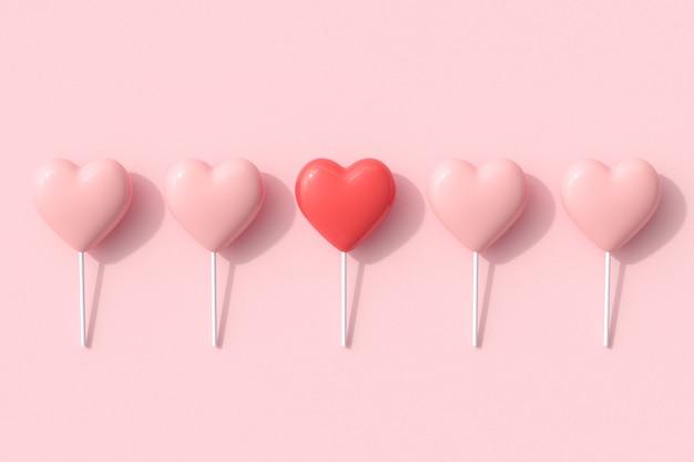 Tonalità di colore rosso eccezionale dell'idea di concetto di caramelle di forme di cuore su sfondo rosa. rendering 3d. idea di concetto di san valentino.