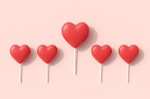 Eccezionali forme di cuore rosso di caramelle lecca-lecca su sfondo rosa. rendering 3d. idea minima del concetto di san valentino.
