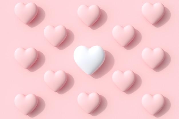 Forme di cuore di colore bianco eccezionale di caramelle lecca-lecca su sfondo rosa. rendering 3d. idea minima del concetto di san valentino.