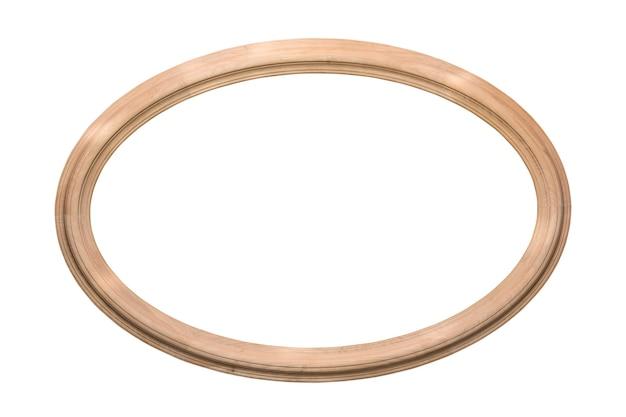 Ovale, cornice ellittica in legno isolato su bianco