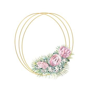 Cornice ovale oro con fiori protea