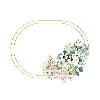 Cornice ovale in oro con piccoli fiori di actinidia, bouvardia, foglie tropicali e di palma