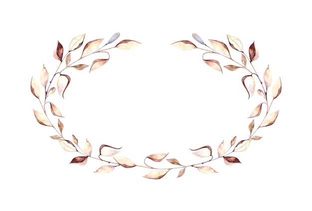 Cornice ovale dell'acquerello con ramoscelli di erbario e foglie secche, fiori secchi su sfondo bianco, pittura ad acquerello per la progettazione di cartoline, packaging, design.