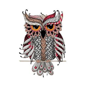 Gufo nei colori rosso e grigio. stile zentangle e dudling. libri da colorare per adulti, colorazione meditativa. disegno a mano.