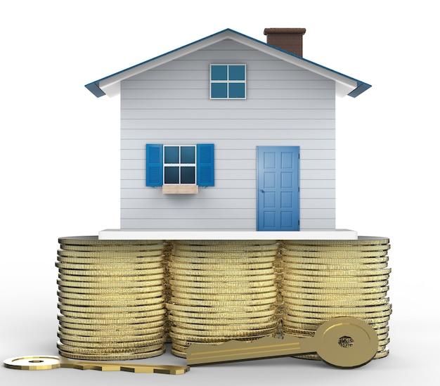 Concetto di proprietà con mock up house e chiavi d'oro