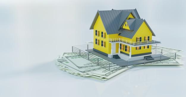 Acquisto di casa e casa di proprietà, rendering di illustrazione 3d