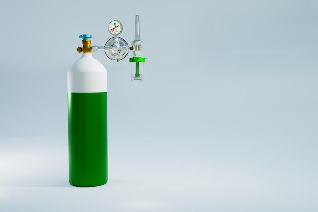 Serbatoio di ossigeno per la terapia polmonare di primo soccorso, rendering dell'illustrazione 3d